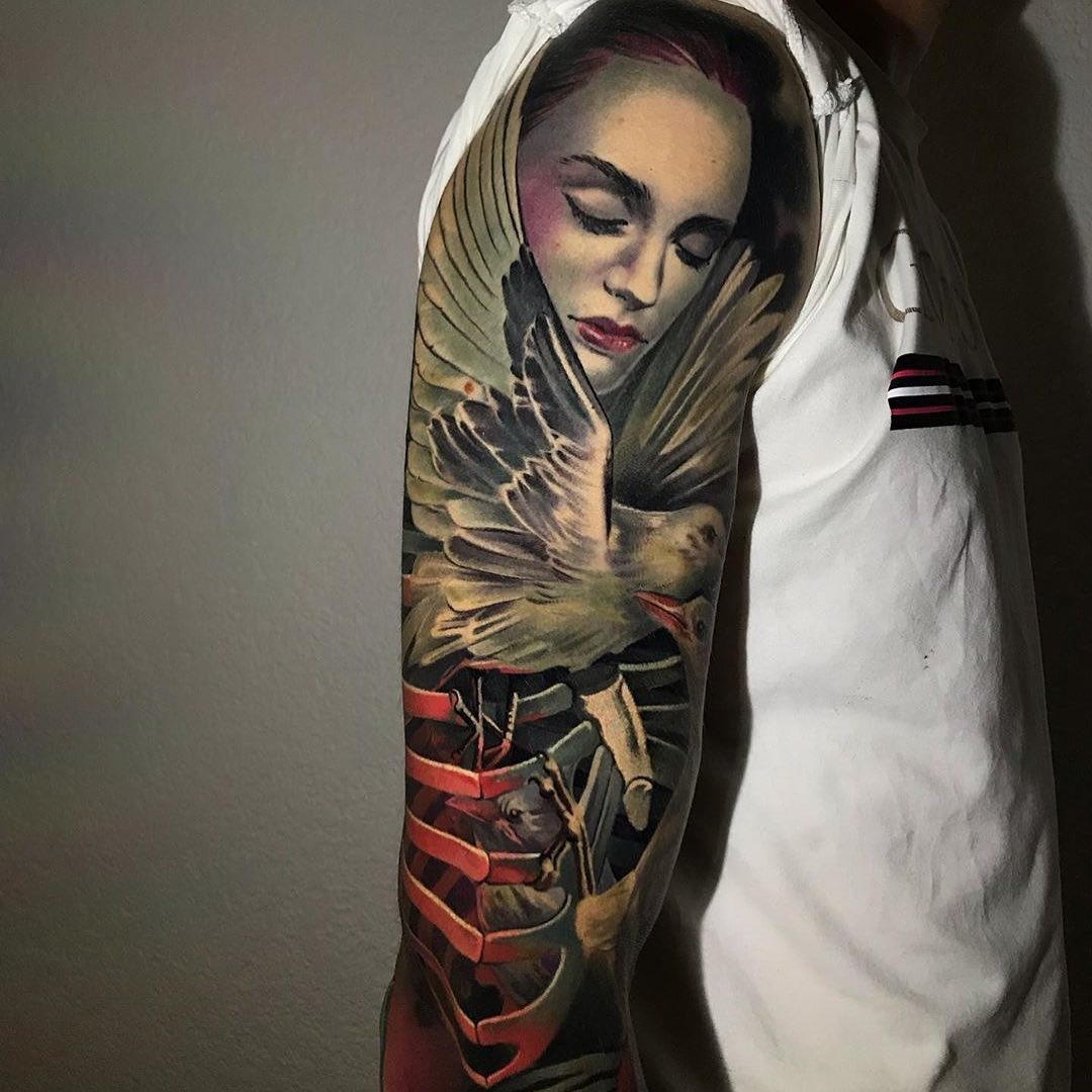 Colour Realism Tattoo of a Bird, Woman and Skeleton by Ivan Panayotov