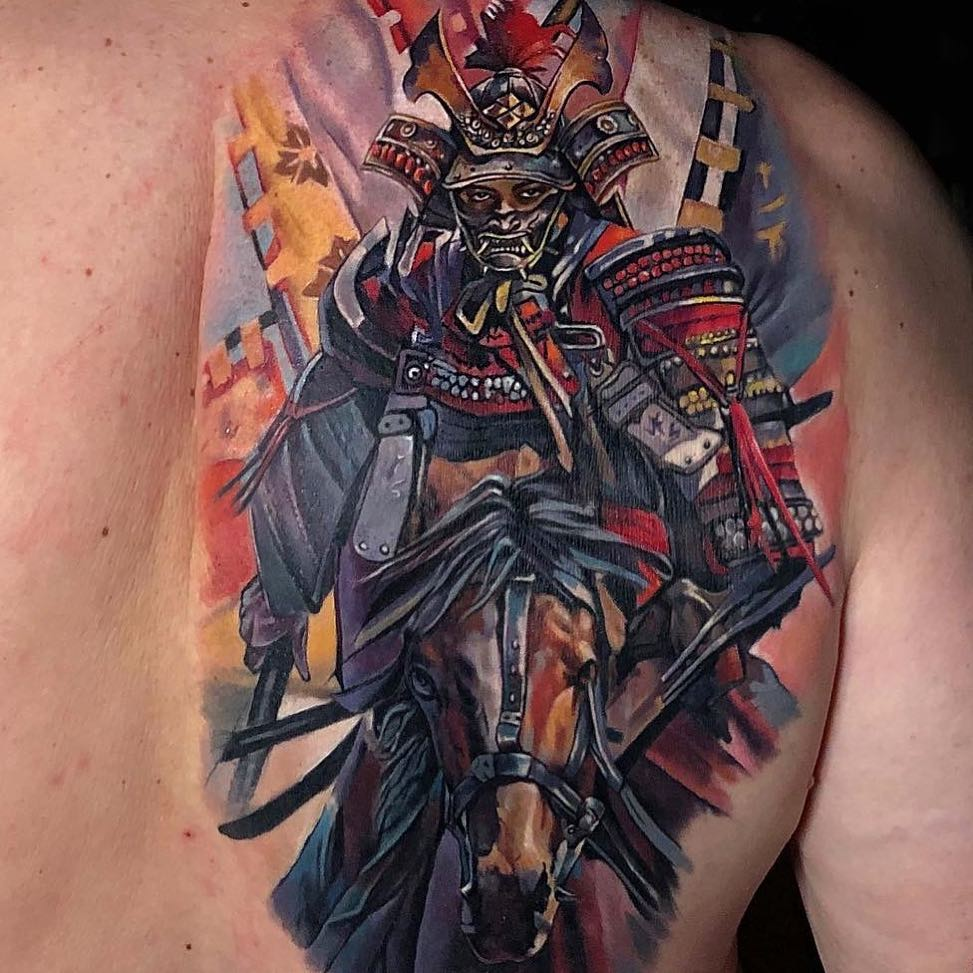 Colour Realism Back Tattoo of Samurai on Horseback by Lena Karlsruhe