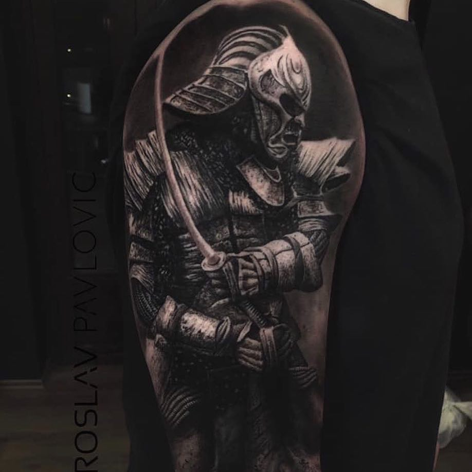 Black & Grey Realism Arm Tattoo by Miroslav Pavlovic