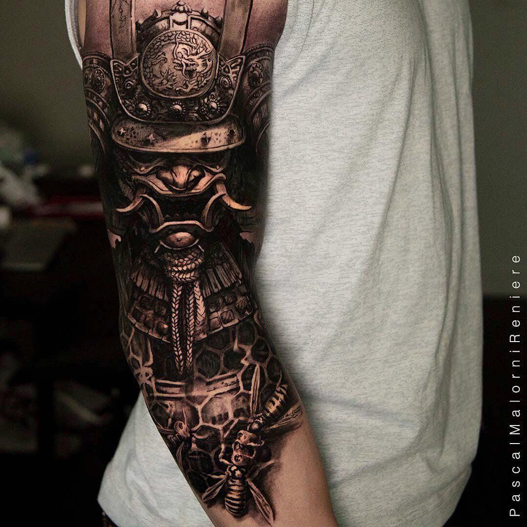 Black & Grey Realism Tattoo of a Samurai Mask by Pascal Malorni Reniere