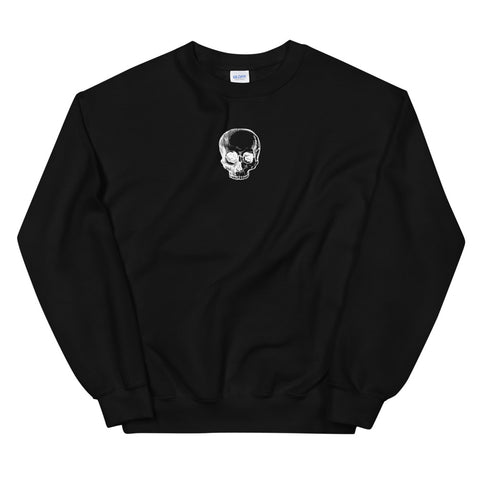 White Skull Black Unisex Sweatshirt