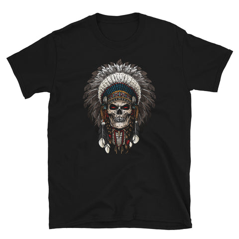 Indian Skull Black Short-Sleeve Unisex T-Shirt