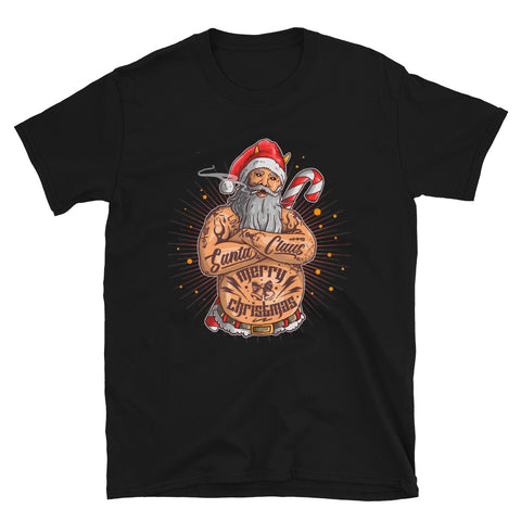 Tattooed Santa Black Short-Sleeve Unisex T-Shirt