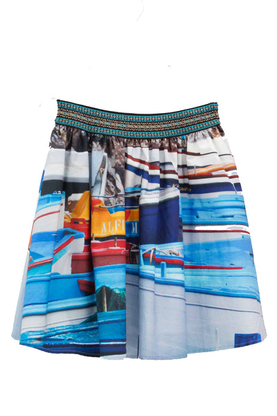 Italian Blue Boat Short Cirle skirt
