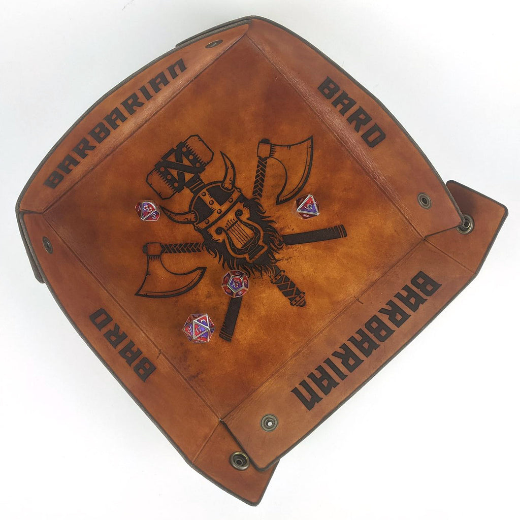Tooled Leather Bardbarian Rolling Tray