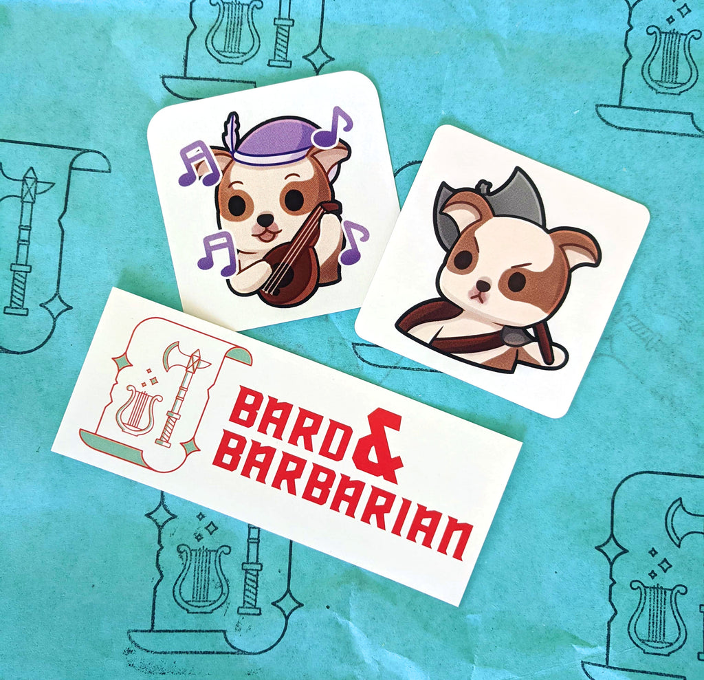 Bard and Barbarian Sticker Pack