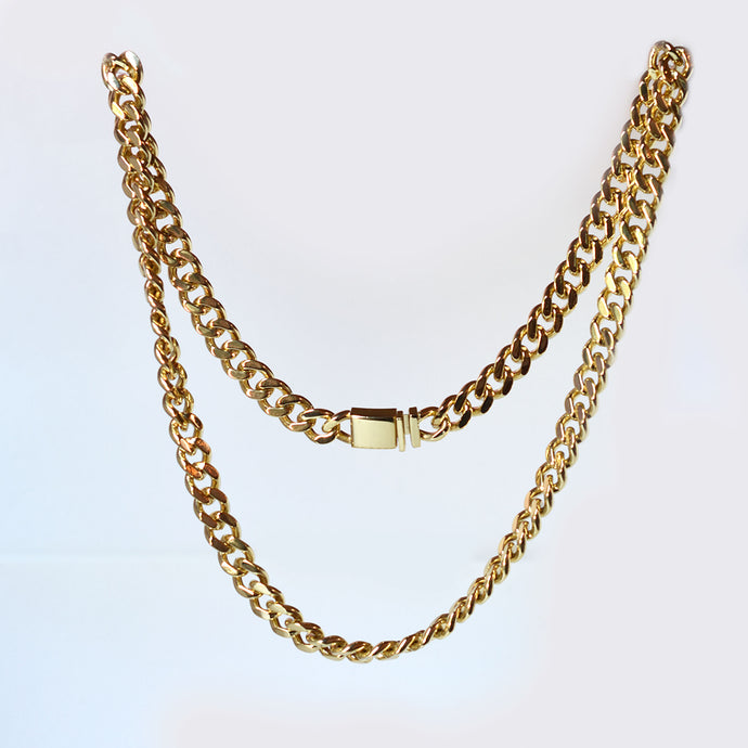 gold tone cuban link chain