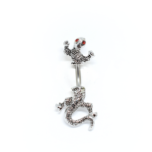 Blue Chameleon Belly Ring