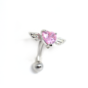 Red Cupid's Heart Belly Ring