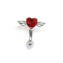 Load image into Gallery viewer, Red Cupid's Heart Belly Ring