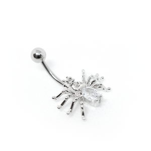 White Spider Belly Ring