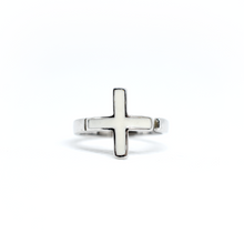 Load image into Gallery viewer, White Adjustable Cross Ring