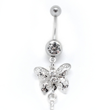 Load image into Gallery viewer, sparkly butterfly belly ring