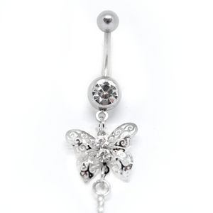 sparkly butterfly belly ring