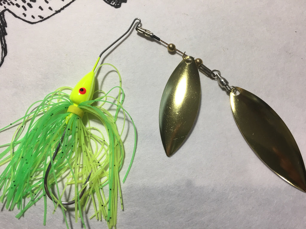 RAZOR SPIN spinnerbaits with polished brass Willow Leaf blade
