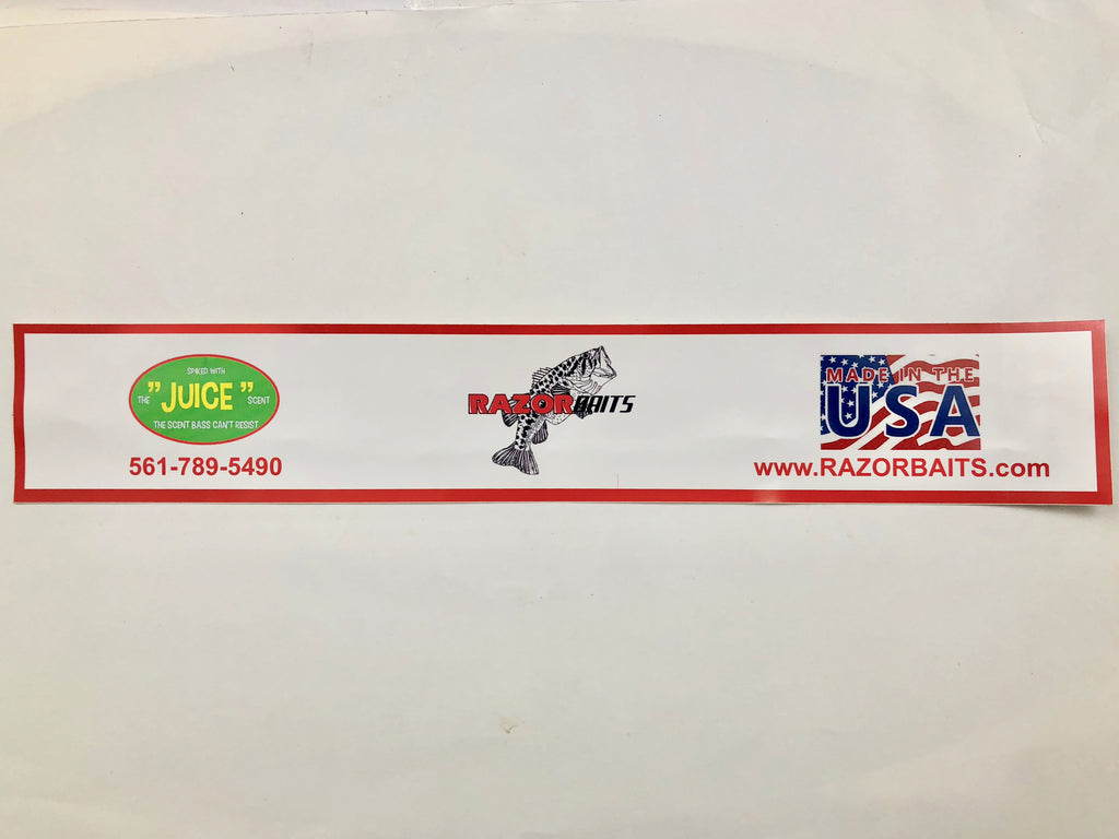 "RAZOR BAITS fish logo vinyl narrow bumper sticker 12"" L X 2"" T"