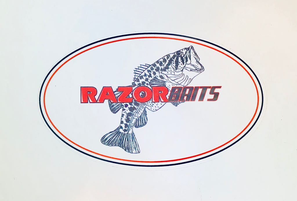 "RAZOR BAITS fish logo vinyl oval 3"" X 5"" decal"