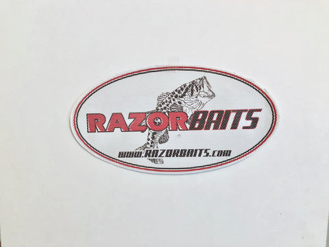 Razor Baits fish logo vinyl oval window/boat decals.
