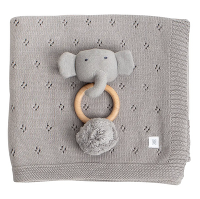 Organic Cotton Clover Knit Baby Gift Set- Elephant + Grey - Latootha