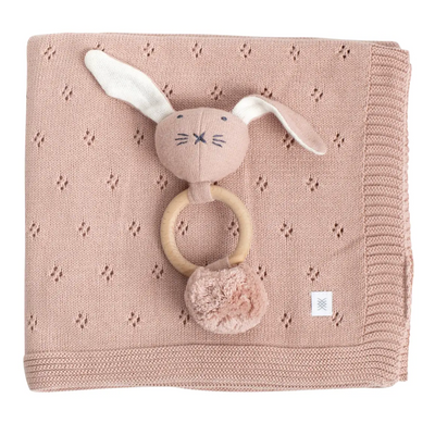 Organic Cotton Clover Knit Baby Gift Set- Berry+ Bunny - Latootha
