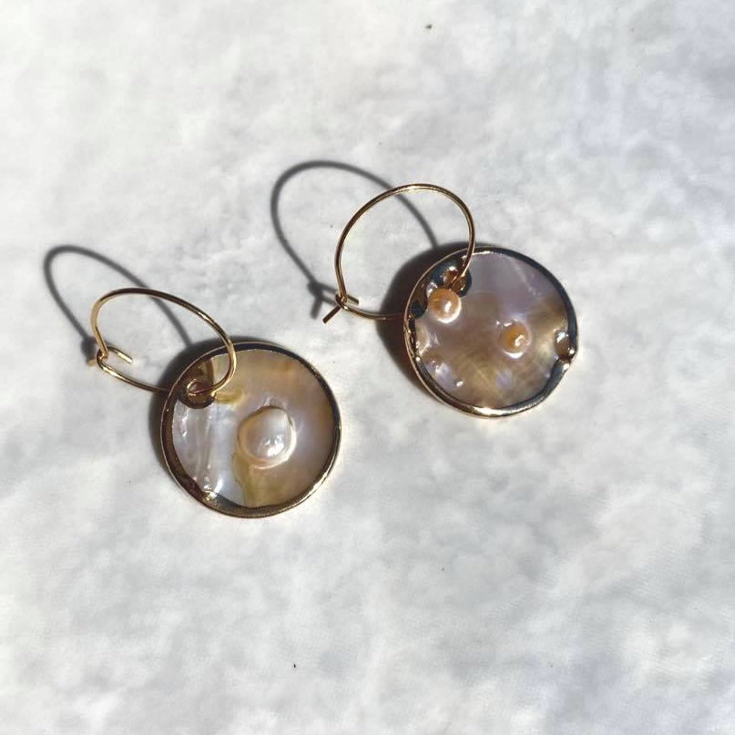 Mother of Pearl Hoop Drops - By Ferne