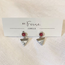 Load image into Gallery viewer, By Ferne Marble Trinity Silver Studs