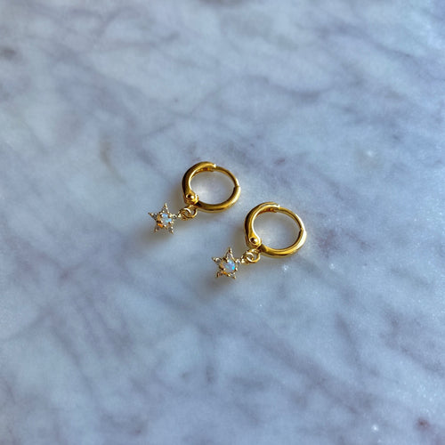 Baby Gold Star Shine Drop Earrings By Ferne