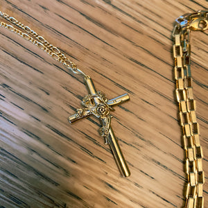 Holy Rose Cross Pendant Necklace - By Ferne