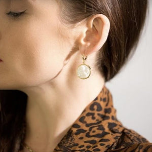 Cherub Mother of Pearl Droplet Mini Hoops - By Ferne