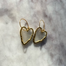 Load image into Gallery viewer, Transparent Golden Heart Hoop Drop Earrings - By Ferne