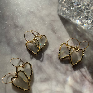 Transparent Golden Heart Hoop Drop Earrings - By Ferne