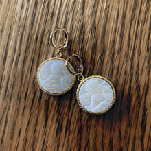 Load image into Gallery viewer, Cherub Mother of Pearl Droplet Mini Hoops - By Ferne