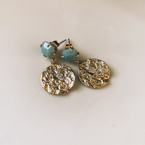 Amazonite Gem Coin Charm Stud Earrings - By Ferne
