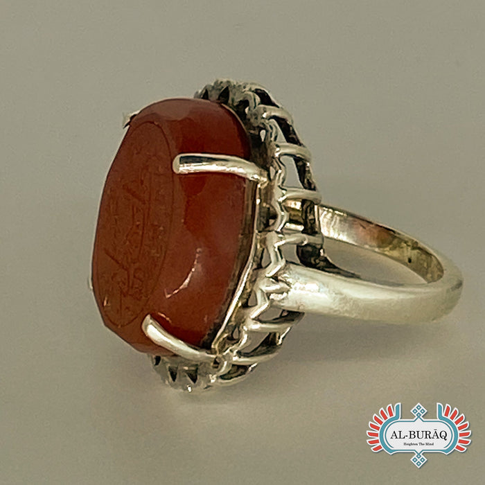 Aqeeq Yemeni Ring (Reddish-Brown)-al-Burāq
