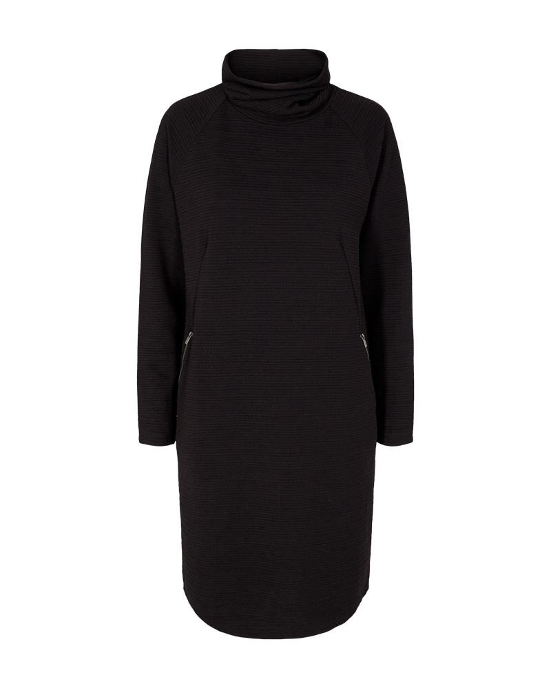 Freequent – Java Roll Neck Dress – Black - java-dr