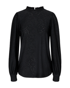 Freequent – Long Sleeved Top – Black - blond-ls