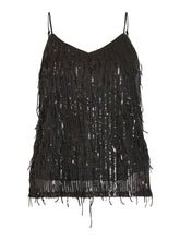 Load image into Gallery viewer, Vila - Romanti Sequin Singlet Cami - Black