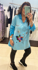 Miss Style – Flower Print Light Top - Teal - 5621