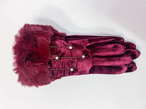 One More Fashion - Pearl Gloves - Red - 1822