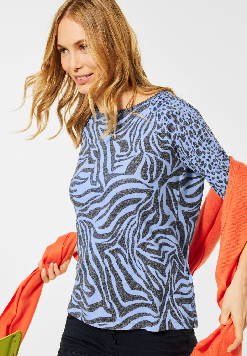 Cecil – Zebra Top – Blue - 315951