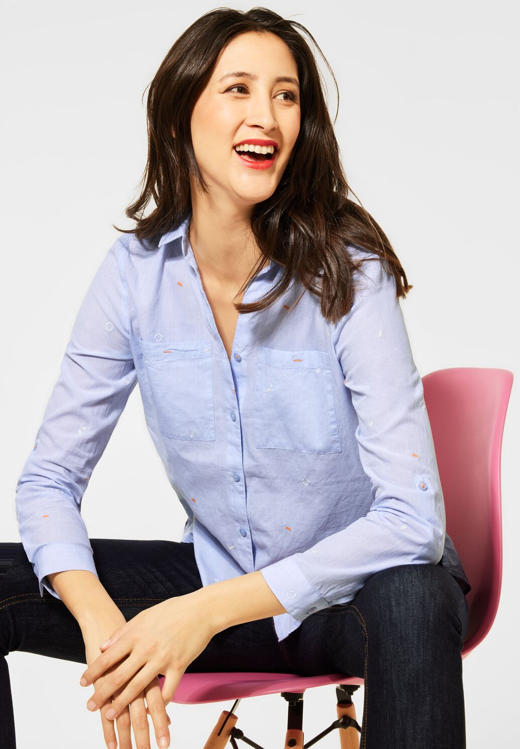 Street One – Linen Blouse – Blue - 342504
