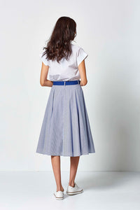 Md'M – Stripe Skirt  – Royal Blue – 26943609
