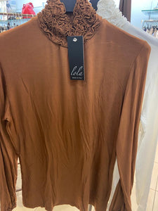Novio - 2FOR€20 - Fleece Lined Ruffle Polo - Camel - 216-7W0
