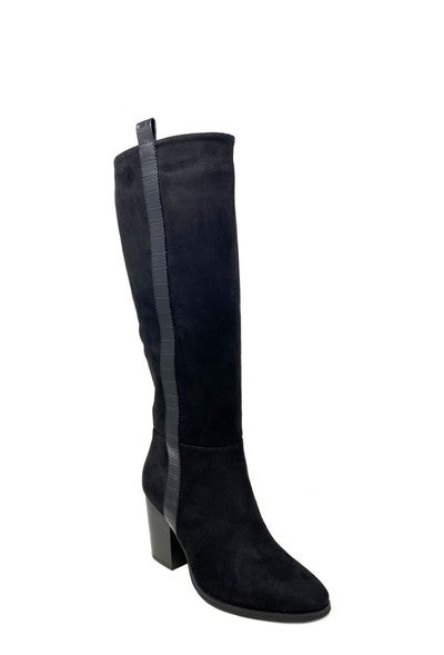 Forever Folie – Suede Heeled Knee High Boot - Black - F5855S