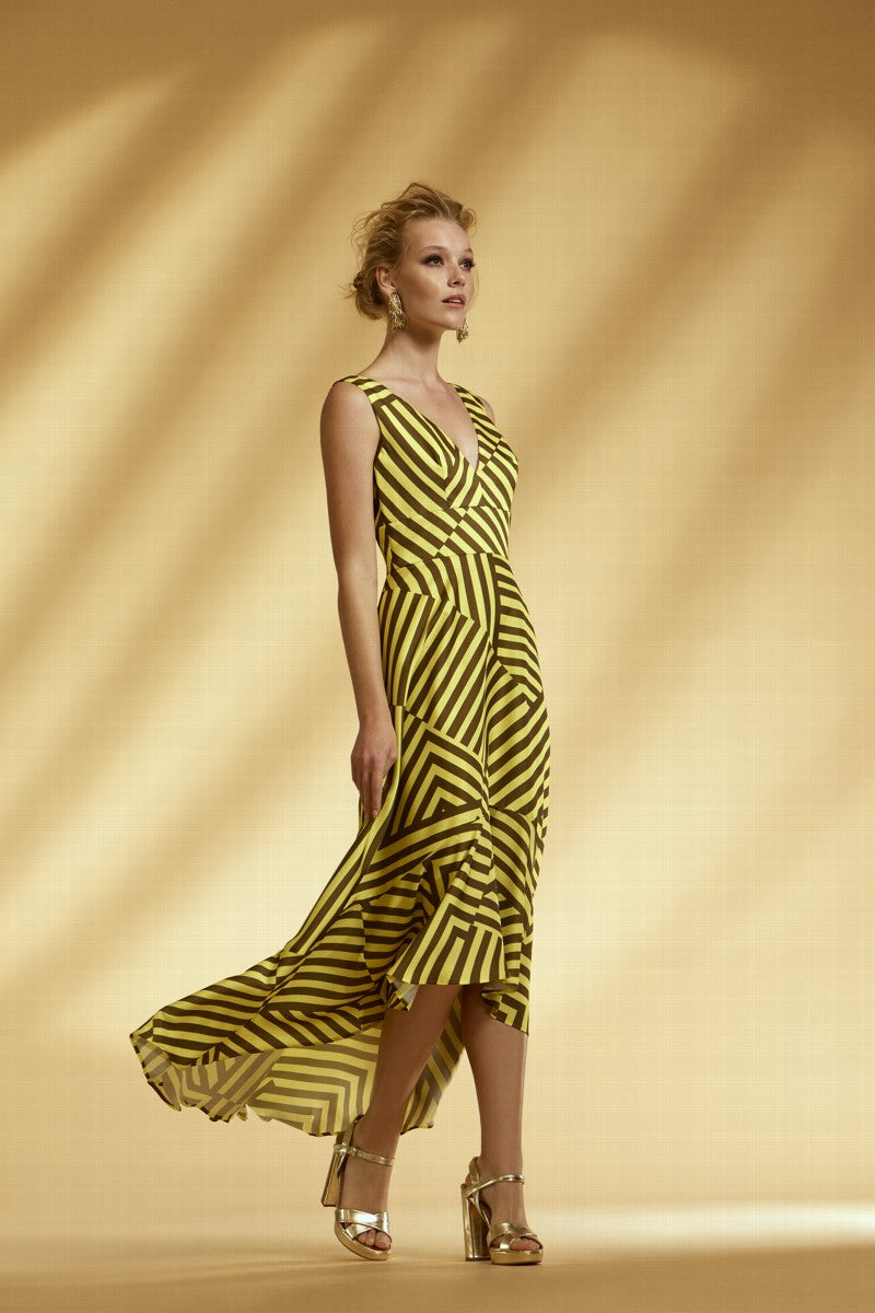 Arggido – Stripe Dress - Yellow - 43534