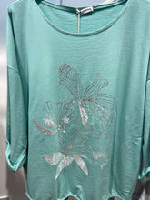 Load image into Gallery viewer, Miss Style – Flower Foil Print Top - Aqua - 3558