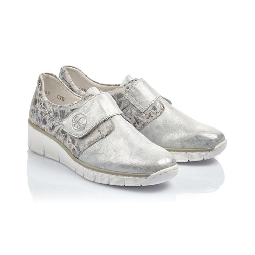 Rieker Womens Silver Low Wedge Shoe