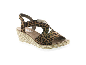 Rieker - Womens Wedge Sandal - Brown/Leopard - 61929