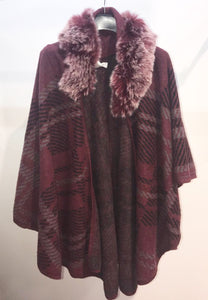 Sunco – Checked Poncho - Wine - 571