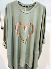 Load image into Gallery viewer, Lipstick – Heart Print Tunic - Militare - 10517